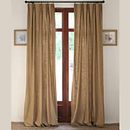 Deux Panneaux Le traitement de fenêtre Designer Rustique Moderne Néoclassique Européen , Solide Salle de séjour Mélange Lin/Coton Matériel