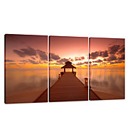VISUAL STAR®Sea Sunset Stretched Canvas Printing 3 Pannel Bridge Wall Art Ready to Hang