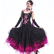 Ballroom Dance Outfits Women's Performance Spandex / Crepe /Rhinestones / Ruffles 4 Pcs Dress&Collar&2*Hand act
