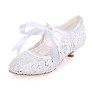 Women's Spring / Summer / Fall Round Toe Lace Wedding / Party & Evening Low Heel Black / Pink / Ivory / White