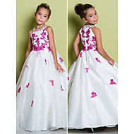Lanting Bride A-line Floor-length Flower Girl Dress - Organza Sleeveless Jewel with Appliques / Beading