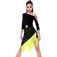 Latin Dance Outfits Women's Performance Rayon Polyester Tassel(s) 2 Pieces Skirt Top S:45-69 M:47-71 L:49-73 XL:51-75