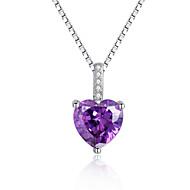925 Silver Jewelry Heart Shape Crystal Pendant Women Fashion Necklace Jewelry