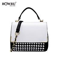HOWRU ® Women 's PU Tote Bag/Single Shoulder Bag/Crossbody Bags-White/Black-white