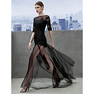 Formal Evening Dress - Black A-line Bateau Court Train Tulle