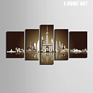 E-HOME® Stretched Canvas Art Water Castle Decoration Painting  Set of 5