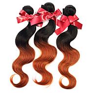 Peruvian hiukset kutoa nippusiteet aalto kaksi sävyä ombre t1b / 30 peruvian neitsyt hiustenkarvat 1kpl 50g / kpl