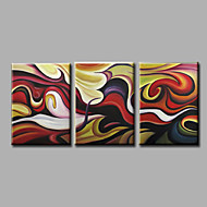 Ready to Hang Stretched Hand-Painted Oil Painting on Canvas Wall Art Contempory Abstract Brown Dark Three Panel