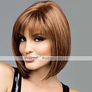 Naisten Ihmisen hiukset Capless Peruukit #30 #33 2/33 18/613 30/613 Lyhyt Suora Bob-leikkaus Otsatukalla Keskijakaus