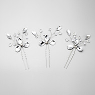 Women's Rhinestone / Crystal / Alloy / Imitation Pearl Headpiece-Wedding / Special Occasion Hair Pin 3 Pieces White Round