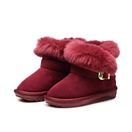 Girl's Boots Winter Comfort Suede Dress Casual Party & Evening Flat Heel Feather Tassel Burgundy Other