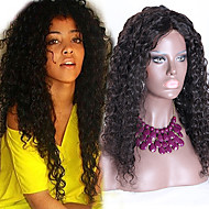 """Unprocessed 10""""-24"""" Brazilian Virgin Hair Natural Black Loose Curly Full Lace Wig Free Part Curly Lace Front Wigs"""