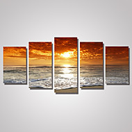 Canvas Set Landschap Fantasie Klassiek,Vijf panelen Horizontaal Print Art Muurdecoratie For Huisdecoratie