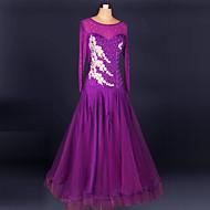 Ballroom Dance Dresses Women's Performance Chinlon / Crepe Crystals/Rhinestones 1 Piece Long Sleeve Dress S-XXL:95cm / XXXL-4XL:125cm