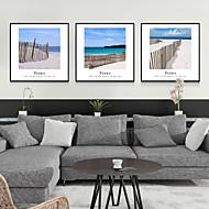 Abstrato / Paisagem / Floral/Botânico / Natureza Morta / Arquitetura Conjunto Emoldurado Wall Art,Poliestireno PretoCartolina de