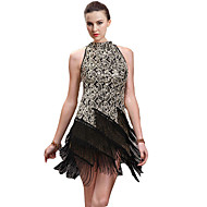Latin Dance Dresses Women's Performance Cotton Spandex Tassel(s) 1 Piece Sleeveless Dress 90