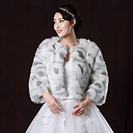 Fur Coats / Fur Wraps / Wedding  Wraps Coats/Jackets 3/4-Length Sleeve Faux Fur As Picture Shown Wedding / Party/Evening ScoopFeathers /