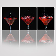 VISUAL STAR®Cocktail Glass Canvas Print with Wood Framed 3 Panel Canvas Artwork for Home Decoration Ready to Hang