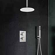 Economical Contemporary Thermostatic Mixer Control 8 Inch Shower Faucet Rain Tap Round Stainless Steel Shower Head