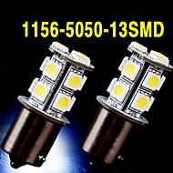 2 х белый 1156 BA15S 13-SMD 5050 Светодиодные лампы сигнала поворота резервного копирования наоборот