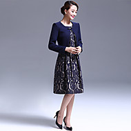 A-line Mother of the Bride Dress - Dark Navy Knee-length Long Sleeve Polyester