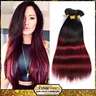 "1pcs / lot 10 ""-24"" 100g / piece unverarbeiteten brasilianischen reinen Haares 7a Grade zwei Tönen 1b / 99j ombre gerade"