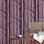 New Rainbow™ Trees/Leaves Wallpaper Contemporary Wall Covering , Non-woven Paper Simple Simulation White Birch