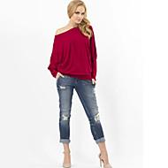 Tee-shirt Aux femmes Ruché Manches Longues Bateau Coton