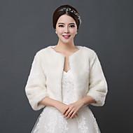 결혼식 랩 볼레로 3/4 길이 소매 모조 모피 아이보리 웨딩 34cm 오픈 프론트
