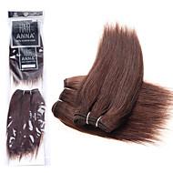"""anna brasileña del pelo recto sedoso teje 2pcs 8 """"extensiones de cabello rectas suaves vírgenes # 2 armadura del pelo haces de 90g / pack"""