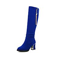 Women's Boots Spring Fall Winter Comfort Fleece Wedding Casual Party & Evening Chunky Heel Sparkling Glitter Ruffles Tassel Black Blue Red