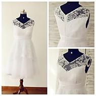 A-line Wedding Dress - White Tea-length V-neck Lace / Tulle