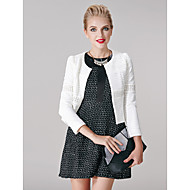 A-line Mother of the Bride Dress - White / Black Short/Mini Long Sleeve Polyester