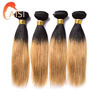 "4Pcs/lot 10""-26"" Beruvian Virgin Hair Two Tone T1B/27# Ombre Straight Human Hair Weave Full Bundles"