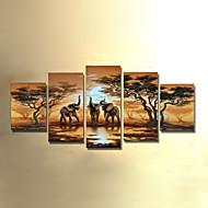 håndmalede moderne abstrakt elefant solnedgang afrikanske landskab oliemaleri på lærred 5pcs / sæt ingen ramme