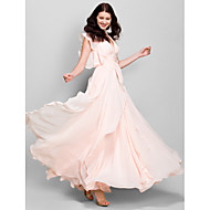 Lanting Bride Ankle-length Chiffon Bridesmaid Dress A-line V-neck with Cascading Ruffles