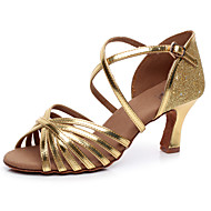Sparkling Glitter Women's Dance Shoes Latin / Salsa / Samba Leatherette Customized Heel Gold