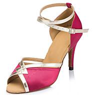 Customizable Women's Dance Shoes Satin Satin Latin Heels Stiletto Heel Indoor Black / Yellow / Purple / Red / Ivory / Fuchsia