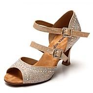 Non Customizable Women's Dance Shoes Satin / Leather Satin / Leather Latin Heels Flared HeelPerformance / Practice / Beginner /
