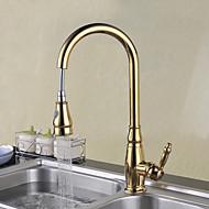 tradicional acabamento dourado um único furo handle convés montado rotativo pull-out torneira spray de cozinha