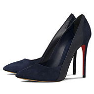 Women's Shoes Fleece Stiletto Heel Heels / Pointed Toe Heels Party & Evening / Dress / Casual Black / Blue / Red