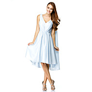 TS Couture Cocktail Party Dress - Sky Blue A-line V-neck Knee-length Chiffon