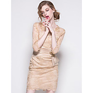 Sheath/Column Mother of the Bride Dress - Champagne / Black Short/Mini 3/4 Length Sleeve Polyester