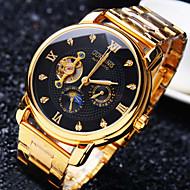 男性 ファッションウォッチ リストウォッチ 機械式時計 自動巻き 耐水 透かし加工 模造ダイヤモンド ステンレス バンド 光沢タイプ クール 創造的 ラグジュアリー ゴールド