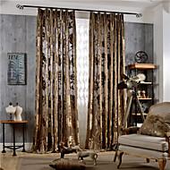 Dvije zavjese Zemlja / Moderna / Neoclassical Cvjetni / Botanički Višebojne Bedroom Polyester Panel zavjese Zavjese