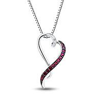 dámská móda stříbrných set s diamantem a vytvořil rubínový tvaru srdce přívěsek s řetězem silve box