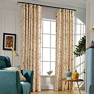 (Two Panels)Modern Floral Print Cotton Polyester Blend Curtain(Sheer Not Included)