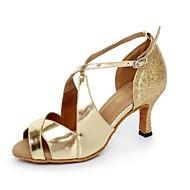 Scarpe da ballo - Non personalizzabile - Donna - Latinoamericano - Tacco a rocchetto - Pelle / Glitter - Oro