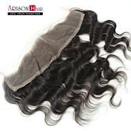 8-20 inch Negro Natural (#1B) Ondulado Grande Cabello humano Cierre Castaño mediano Encaje Suizo 30-50 gramo Tamaño del casquillo
