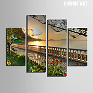 E-HOME® Stretched Canvas Art Scenery of The River Bank Decoration Painting  Set of 4